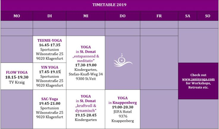 TIMETABLE 2019