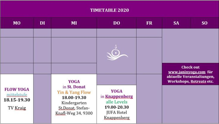 TIMETABLE 2020